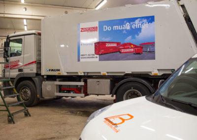Müllwagen Zosseder Neubeschriftung Brei Werbetechnik Wasserburg Fahrzeugbeschriftung