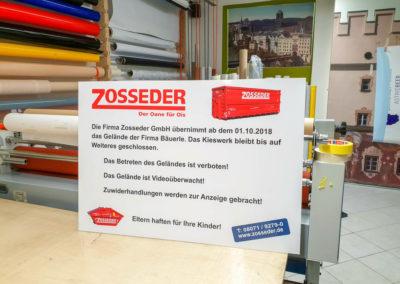 Schild Zosseder Kieswerk