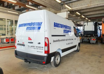 Fahrzeugbeschriftung Baustoffprüfstelle Rosenheim