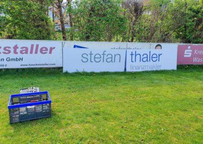 Werbebande Stefan Thaler Sportplatz Babensham