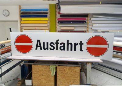 Schild Reflexfolie Recyclinganlage Schilchau Wasserburg
