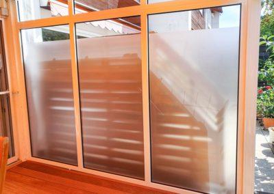 Sichtschutzfolierung Glasdekorfolie Terrassendach Wasserburg