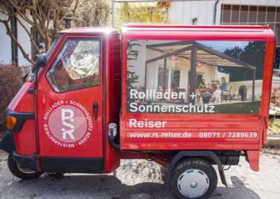 Fahrzeugbeschriftung Ape RSR Rollladen und Sonnenschutz Reiser Wasserburg