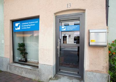 Schaufensterbeschriftung Pflegedienst Hauf Wasserburg