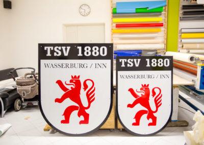 Beschriftung Schilder TSV 1880 Wasserburg Fußball