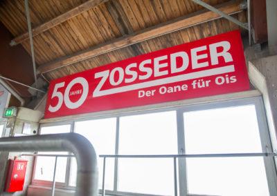 Werbebande Zosseder im Emilo Stadion Rosenheim